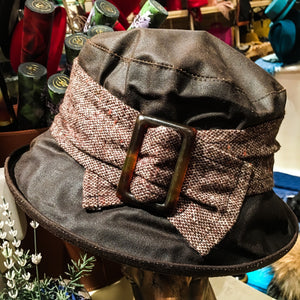 Wax Cloche Hat with Brim - Tweed Band with Bow and Buckle