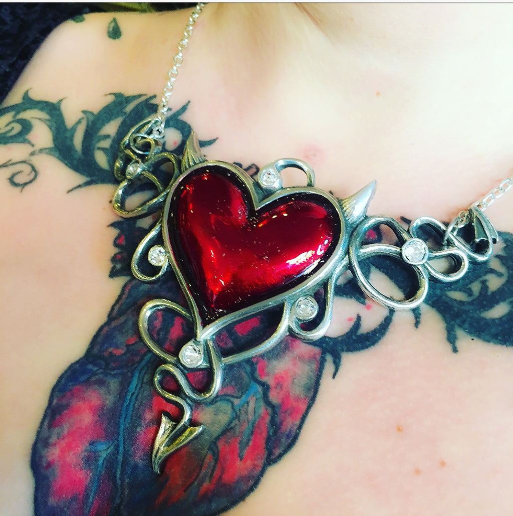 Devils Heart Pendant Necklace