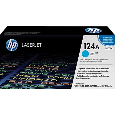 HP 124A (Q6001A) Color LaserJet 1600 2600 2605 Series CM1015 MFP CM1017 MFP Cyan Original LaserJet Toner Cartridge (2000 Yield)