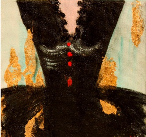 "When Art Meets Fashion, Affordable Fashion Art, Oil on canvas 5"" x 5"", dress - black against gold splashes with a hint of white with tiny red buttons"
