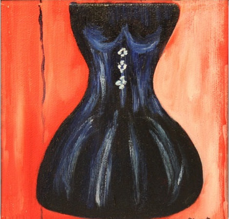 "When Art Meets Fashion, Affordable Fashion Art, Oil on canvas 5"" x 5"" Navy dress with tiny white buttons"