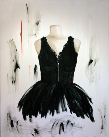 "When Art Meets Fashion, Affordable Fashion Art, Oil on canvas 5"" x 5"", black dress - a swan on white with a thin lined hint of red"