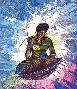 Limited Edition African Art Print, hand painted and signed, called Basket Weaver