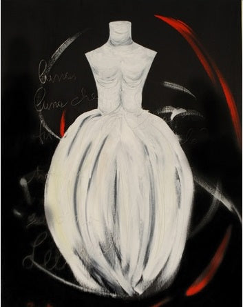 "When Art Meets Fashion, Affordable Fashion Art, Oil on canvas 5"" x 5"", white crinoline dress with letters and swirls of red and white"