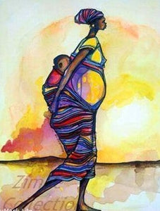 Limited Edition African Art Print by David Kibuuka, hand painted and signed, called Mother & Child Heading Home