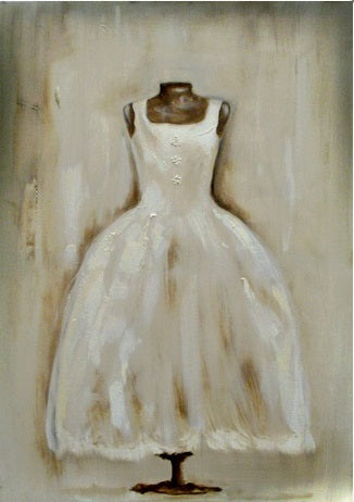 "When Art Meets Fashion, Affordable Fashion Art, Oil on canvas 5"" x 5"", elegant white dress on brown stand"