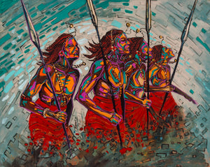 Limited Edition African Art Print, hand painted and signed, called Spear Dancers
