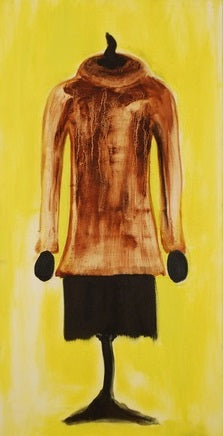 "When Art Meets Fashion, Affordable Fashion Art, Oil on canvas 5"" x 5"", brown and cream fur top with skirt"
