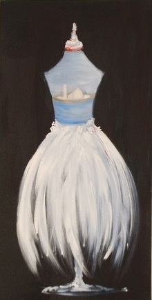 "When Art Meets Fashion, Affordable Fashion Art, Oil on canvas 5"" x 5"", dress on stand in white, with pastel blue bodice against dusty black backdrop"