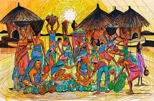 Limited Edition African Art Print, hand painted and signed, called Barter 11