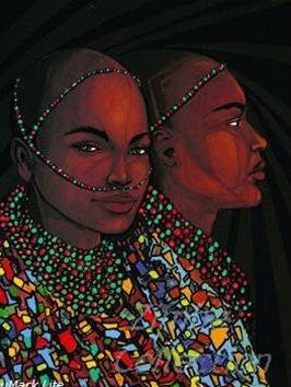 Limited Edition African Art Print, hand painted and signed, called Twin Sisters