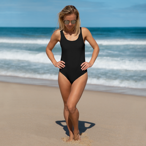 Black bathing suit that slims any figure