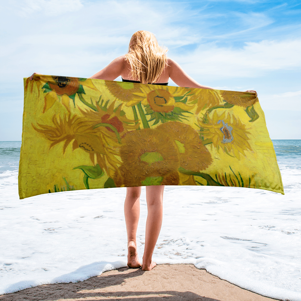 Yellow, green with touches of red and light blue large beach towel with beautiful  Van Gogh sun flowers. Perfect for any lazy day at the beach or pool.
