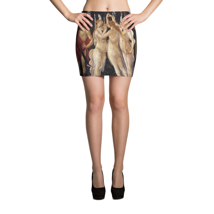 This fitted mini skirt pays tribute to Botticelli's painting Primavera ( Spring) Sensuous and  intricate its principal colors are cream, orange, black, white and red