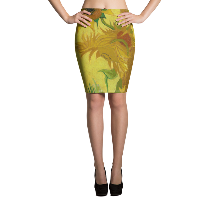 This Yellow, green with touches of red pencil skirt of gorgeous Van Gogh sun flowers is downright sexy!