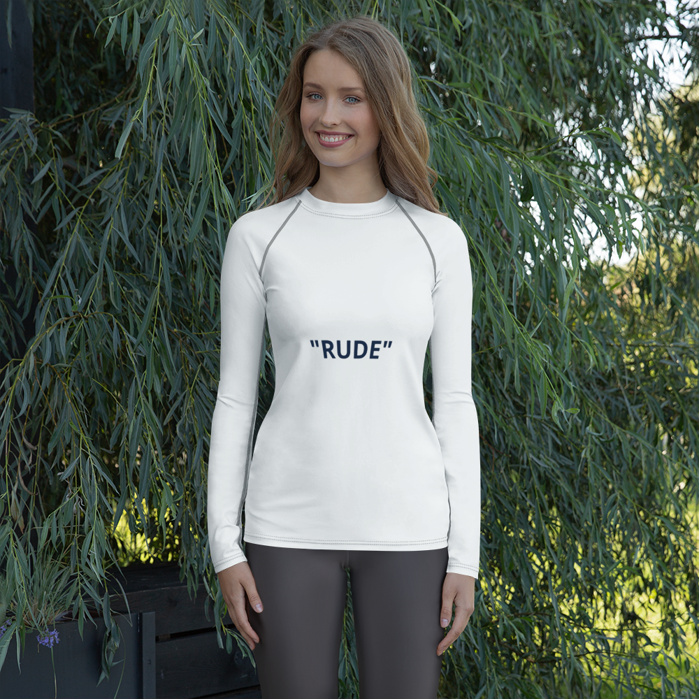 Women's Rash Guard - NOT  RUDE JUST SOCIAL  DISTANCING
