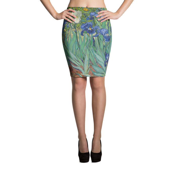 Blue Irises with splashes of green, yellow and taupe on this pencil skirt pays tribute to Van Gogh. A statement item any day of the week