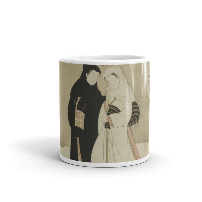 By Ukiyo-e artist Suzuki Harunobo, this woodblock print image of lovers is perfect for a his and her coffee cup morning ritual