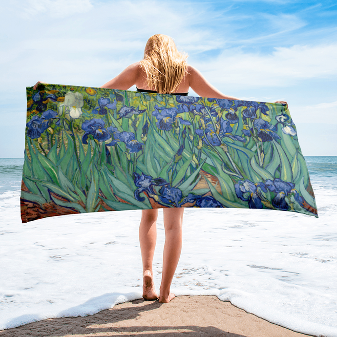 Blue Irises with splashes of green, yellow and taupe on this large beach towel pays tribute to Van Gogh. A statement item, any day at the beach or pool.