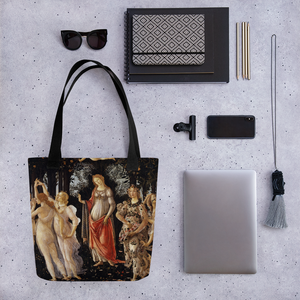 This fabulous tote bag pays tribute to Botticelli's painting Primavera ( Spring) Sensuous and  intricate its principal colors are cream, orange, black, white and red