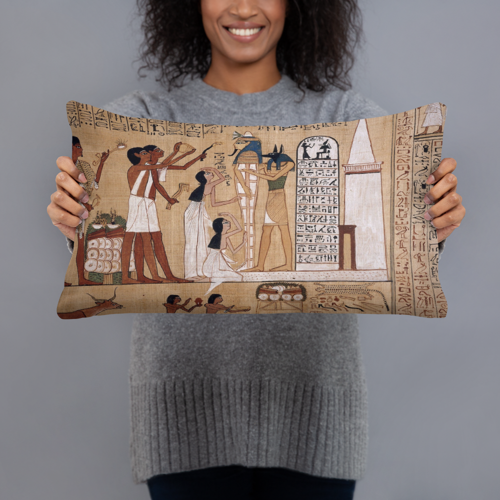 Ancient Egyptian etchings telling fascinating stories, make this pillow a conversation piece in any room.