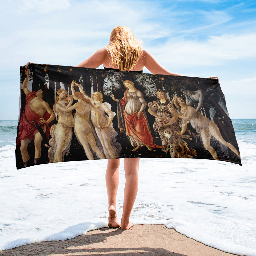 This large beach towel pays tribute to Botticelli's painting Primavera ( Spring) Sensuous and  intricate its principal colors are cream, orange, black, white and red