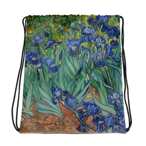 Irises by Van Gogh makes this draw string bag playful and beautiful.  Principal colors are blue, white, yellow and green