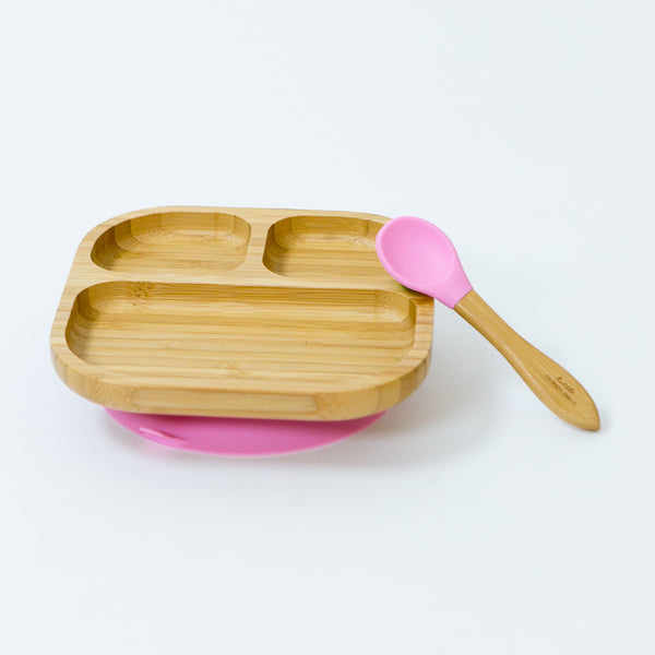 Pink Bamboo Plate Set