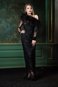 Black lace dress with boa