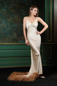 Amazing nude silk dress with boa