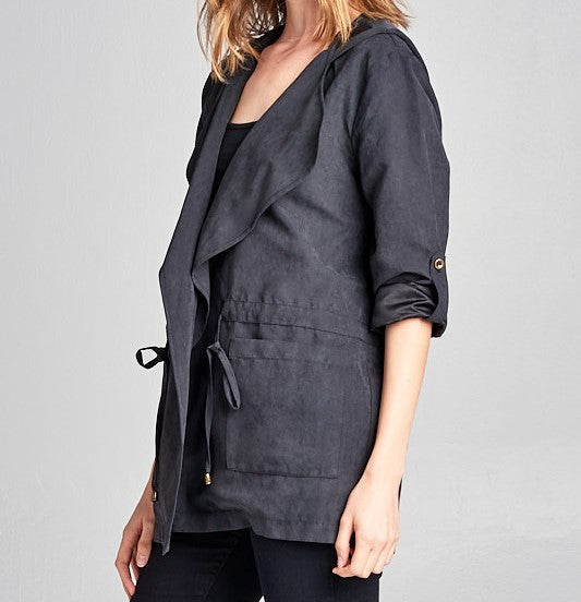 Suede Hooded Coat - Charcoal