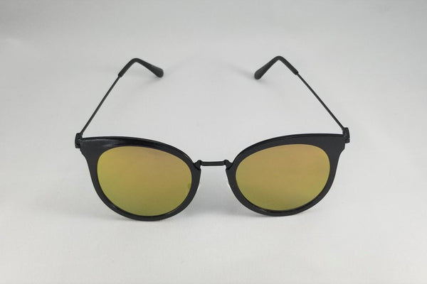 Mirrored Cateye Sunnies - Black/Yellow