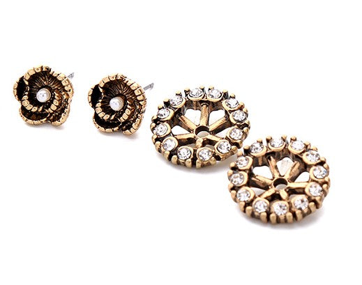 Gold Flower Earring Stud Set