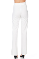 High-Waisted Straight Leg Pants - White
