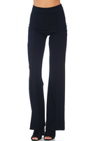 High-Waisted Straight Leg Pants - Black