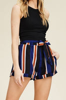 High-Waist Tie Striped Shorts