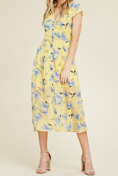 Yellow Floral Print Maxi