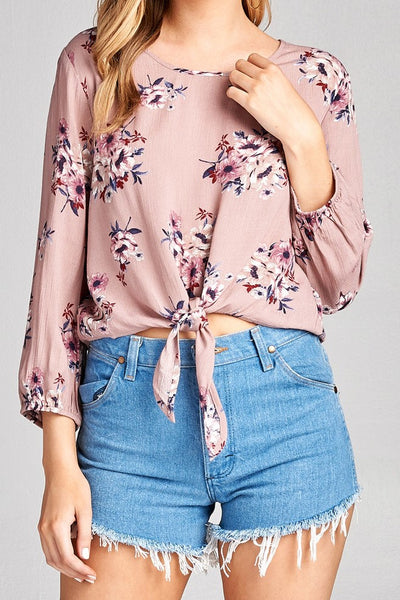 Long Sleeve Crinkle Top - Dusty Pink