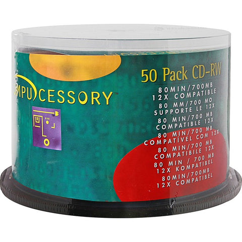 Compucessory Compucessory CD Rewritable Media - CD-RW - 12x - 700 MB - 50 Pack