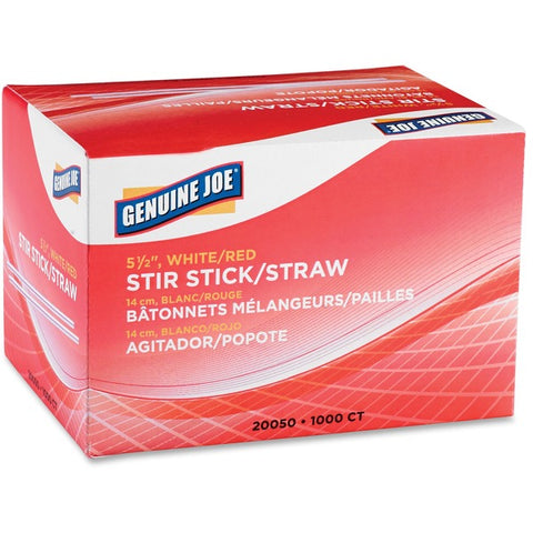 "Genuine Joe 5-1/2"" Plastic Stir Stick/Straws"