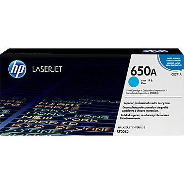 HP 650A (CE271A) Cyan Original LaserJet Toner Cartridge (15000 Yield)