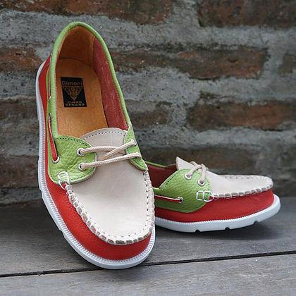 Boat Shoes Rojo/Beige/Verde.