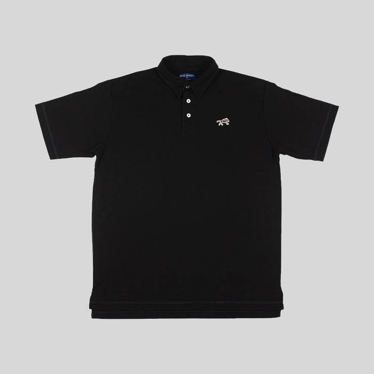 Black Cotton Pique Polo Shirt