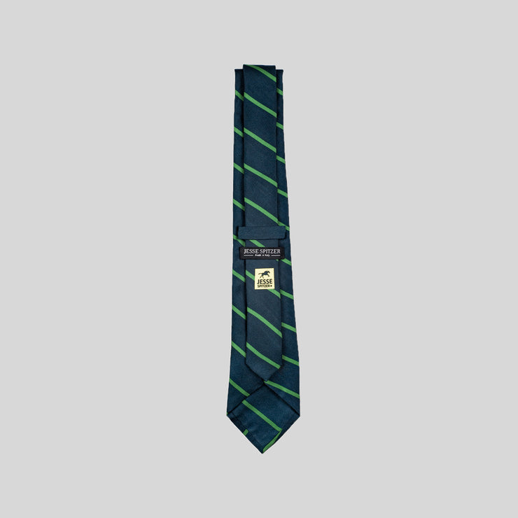 Jesse Spitzer Blue & Green Striped Silk Tie Made in Italy