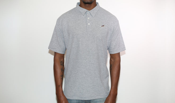Grey Cotton Pique Polo Shirt
