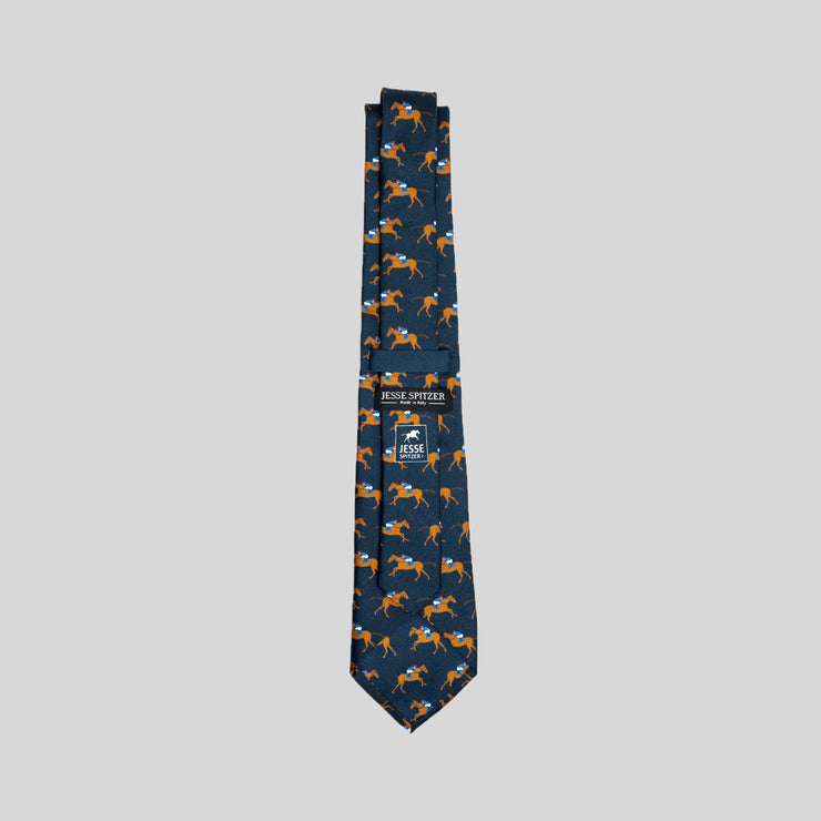 Jesse Spitzer Racehorse Logo Silk Tie Made in Italy