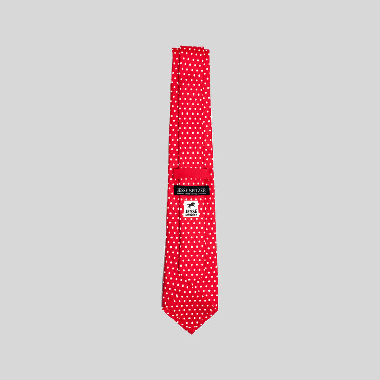 Jesse Spitzer Red Polka-Dot Silk Tie Made in Italy