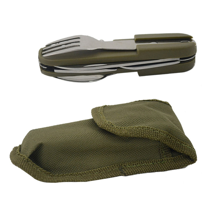Folding Outdoor Tableware Multi-functional Portable Outdoor Camping Survival Stainless Tool Knives and Forks Camping Hiking Tool - Getbackpacking365.com