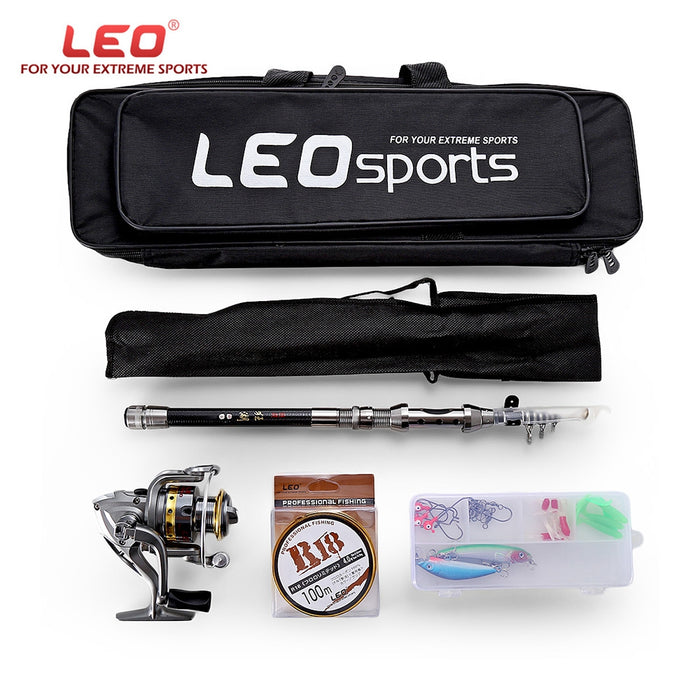 LEO 1.5/1.8/2.1/2.4M Telescopic Fishing Rod Reel Combo Full Kit Spinning Reel Pole Set with Fish Line Lures Hooks Bag Case - Getbackpacking365.com