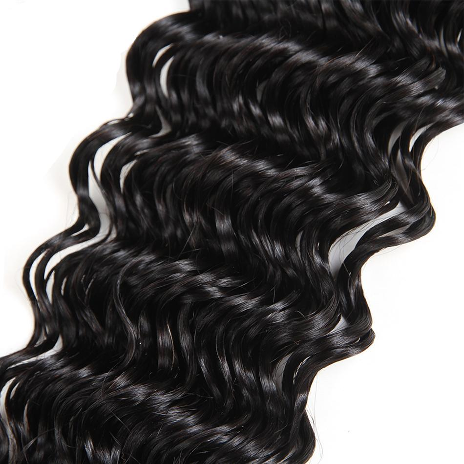 Remy Brazilian Deep Wave Hair Bundles in Natural Color